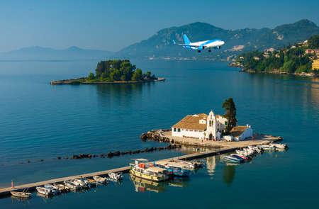 Corfu Greece Vlachernon Vlacherna church Kanoni island traveling sea boats Stok Fotoğraf - 119118394