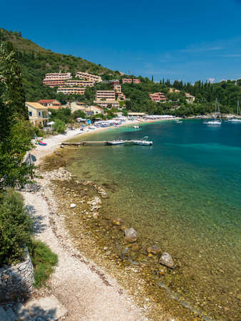 The White beach in Kalami, former residence of British authors Lawrence and Gerald Durrell and their family Stok Fotoğraf