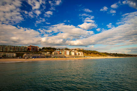 Concrete and wood pier at Boscombe near Bournemouth, Dorset Stok Fotoğraf - 119118411