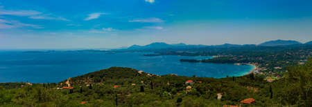 Inlets and beaches of the more tranquil side of Corfu around Ipsos Stok Fotoğraf - 119118448