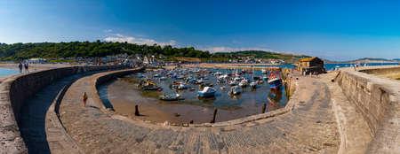 Panoramic view of Lyme Regis Cobb and Harbour
