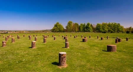 Ancient monument Woodhenge, near Stonehenge, in Wiltshire under a blue sky