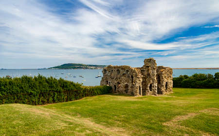 Sandsfoot castle and gardens near Weymouth, Dorset with Portland in the background Stock Photo