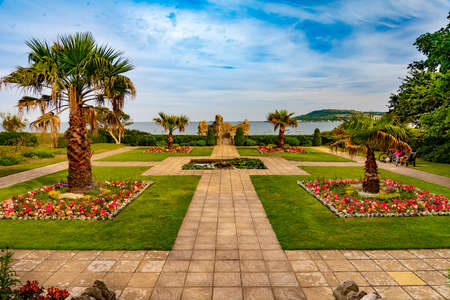 Sandsfoot castle and gardens near Weymouth, Dorset with Portland in the background Stok Fotoğraf