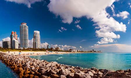 Panorama of the shoreline at Miami Beach