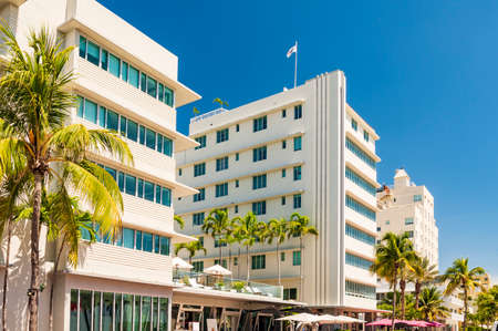 Sun-drenched hotels on Ocean Drive, in the Art Deco District, Miami Beach Stok Fotoğraf