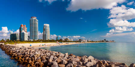 Panorama of the shoreline at Miami Beach