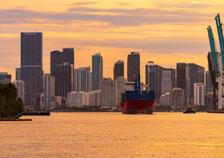 Freight Cargo ship Miami City leaving Downtown district