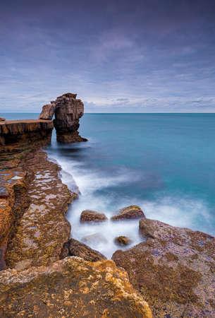 Long exposure of Pulpit Rock and the Jurassic Coastline at Portland Dorset