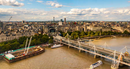 High angle view of Hungerford Bridge and Golden Jubilee Bridges and Wateloo Bridge seen from the London Eye Stock Photo