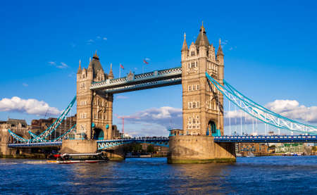 London's Tower Bridge viewed from across the river Thames is an iconic landmark and most visited place in London, England, UK.
