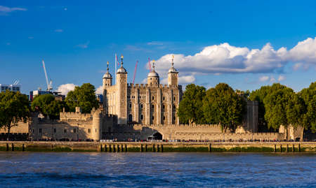 11th Century Tower of London and Traitor's Gate on the River Thames in London, UK