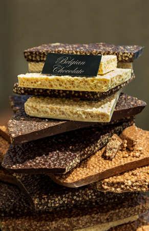 Various chocolates in a chocolatier in Bruges, Belgium Stock Photo