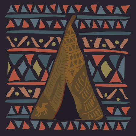 wigwam: Wigwam on colorful ethnic pattern with the Indian ornament. Vector illustration Illustration