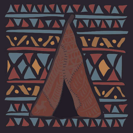 wigwam: Wigwam on colorful ethnic pattern with the Indian ornament. illustration Illustration