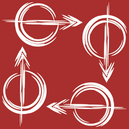 Set of white arrows drawn by brush on red background. Signs of the directions in a circle. Vector illustration Illustration