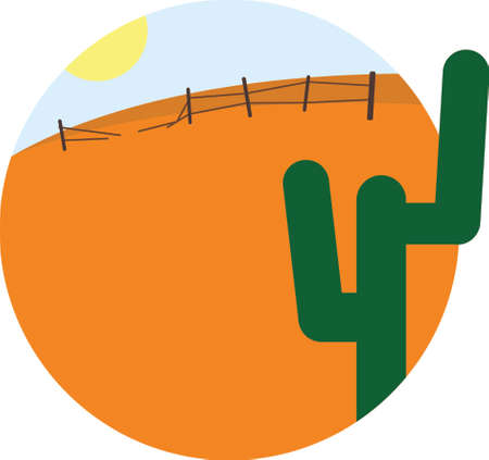 Vector cartoon image round frame with desert, sun and cactus. Summer vacation flat design vector illustration Illustration