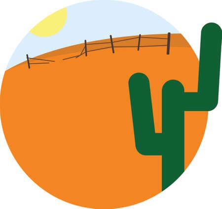 desert sun: Vector cartoon image round frame with desert, sun and cactus. Summer vacation flat design vector illustration Illustration