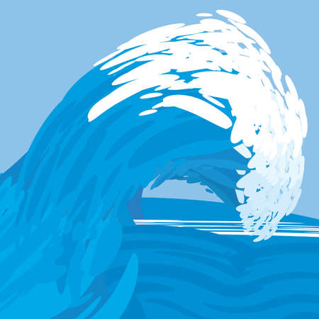surf vector: Crest of a blue ocean wave. Simple drawing of a surf. Vector illustration