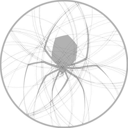 latrodectus: Silhouette of spider created by circles. Round monochrome image