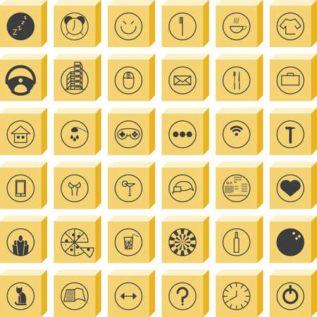 routine: Set activity routine icons of office man all day long Illustration