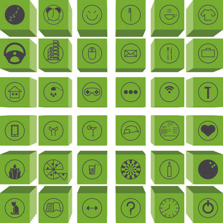 everyday jobs: Set activity routine icons of office man all day long Illustration