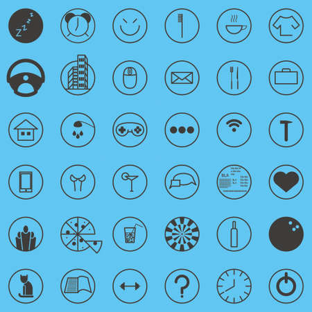 all day: Set activity routine icons of office man all day long Illustration