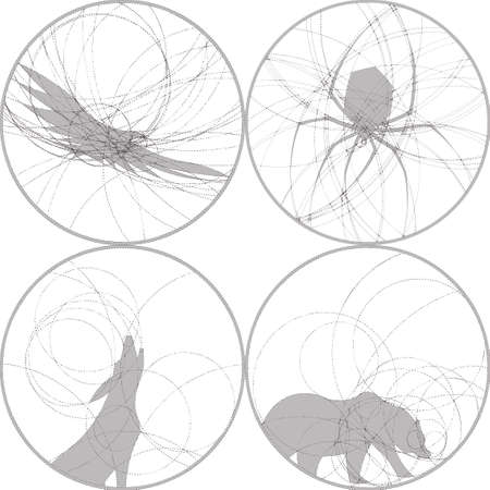 howl: Set of silhouettes of wild animals, bird and spider. Round monochrome images