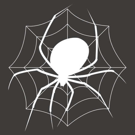 White silhouette of Spider on a web isolated on black background Illustration