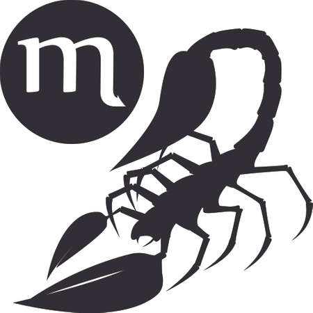 vedic: Silhouette of scorpion with text as emblem, sign or logo Illustration