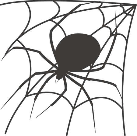 widow: Spider Black Widow and spider web isolated on a white background Illustration