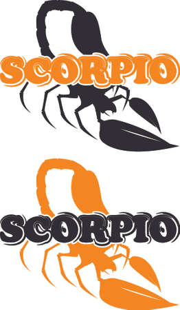 Silhouette of scorpion with text as emblem, sign or logo Illustration