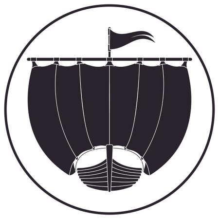 Drakkar icon. Ancientwooden ship of Vikings