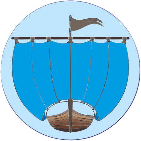 drakkar: Drakkar icon in roundframe as emblem, signor logo. Ancientwooden ship of Vikings