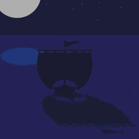 drakkar: Ancient wooden ship of Vikings - Drakkar floating by sea and reflection of the moon in water