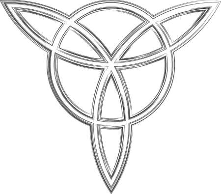 triad: Celtic triangle. The stylized image of a clover. Element of Scandinavian or Celtic ornament. Vector illustration