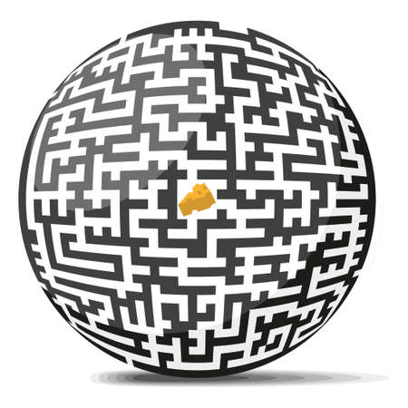 Maze Ball with piece of cheese in the center
