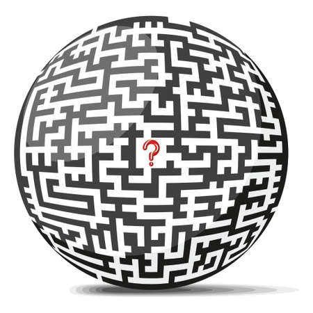 Maze Ball with a question mark in the center Illustration
