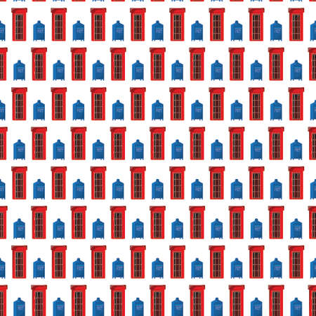 postcard box: Seamless pattern with Red phone cabin and Blue retro mail box. Vector illustration for postcard background or paper Illustration