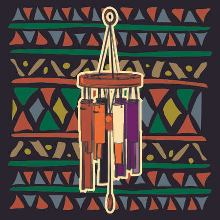 Color wind chimes on colorful ethnic pattern with an Indian ornament