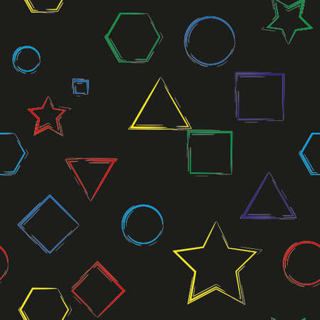 basic figure: Simple geometrical figures on black background. Seamless pattern for textile or wallpaper Illustration