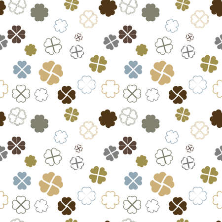 clovers: Seamless pattern with color clovers. Background for St.Patricks day design Illustration