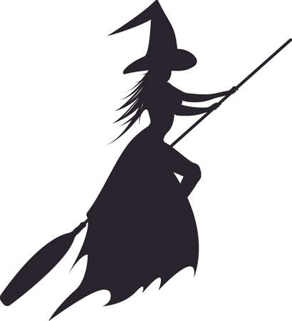 silhouette of the flying witch vector illustration for halloween design stock vector 65583040