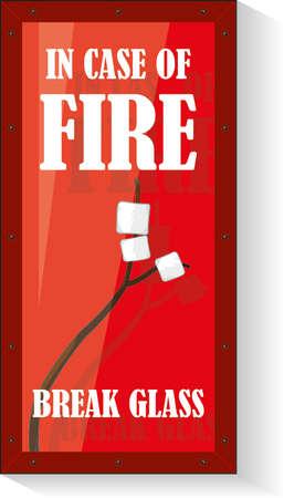 firealarm: Comic Fire break box with marshmallow Illustration