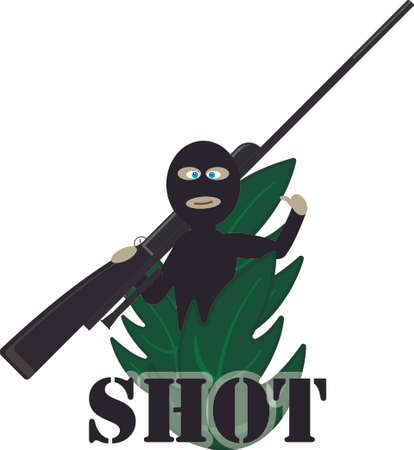 thickets: Sniper with a gromny rifle. Cartoon image of the shooter with weapon hiding in thickets. Vector illustration EPS10
