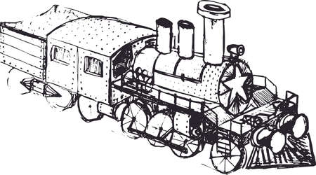 Old steam locomotive. Hand-drawn image on white background Illustration