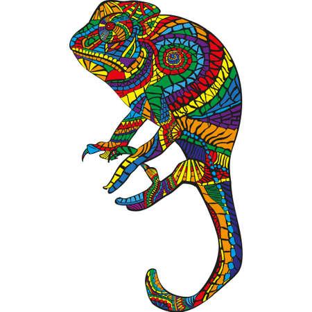Mosaic image of a chameleon on white background
