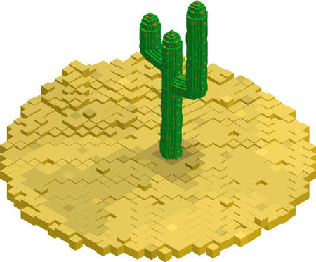 Flat isometric desert built of blocks. Yellow sand and green cactus Illustration