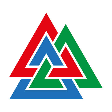 Optical illusion object. Valknut or Knot of the dead. Magic symbol, an interlacing of three triangles Illustration