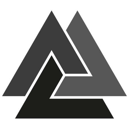 Optical illusion object. Valknut or Knot of the dead. Magic symbol, an interlacing of three triangles Vectores